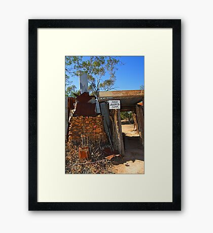Fred Bodel's Camp at Lightning Ridge Framed Print