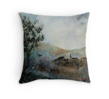 Mist in the Ardennes Belgium Throw Pillow
