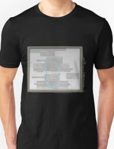 Glitch Subway subway map blue line T-Shirt
