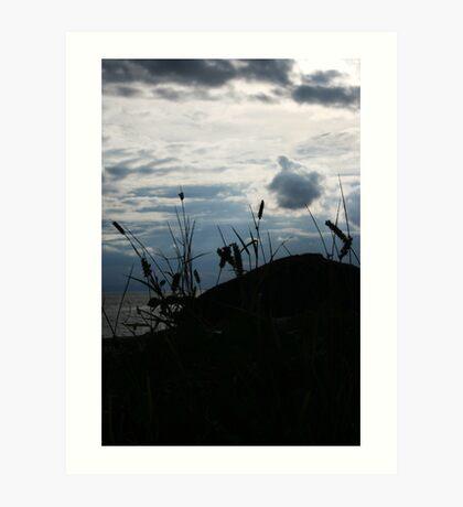 Mountain, grass, sky and cloud Art Print