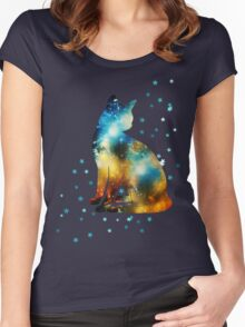 Space Cat On Milky Way, Kitty, Space, Galaxy Women's Fitted Scoop T-Shirt
