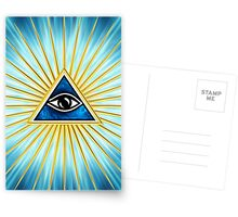 All Seeing Eye Of God, Flames - Symbol Omniscience Postcards