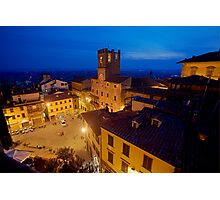 Cortona Tuscany clock tower Photographic Print