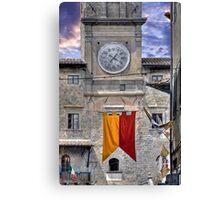 Cortona Tuscany clock tower Canvas Print