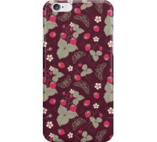 Vintage Berries Leaves Fruit Moth butterfly Wallpaper. iPhone Case/Skin