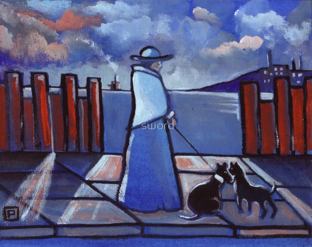 Woman and her dog (from my original acrylic painting ) by sword