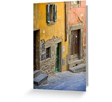Facade in Cortona Tuscany Greeting Card