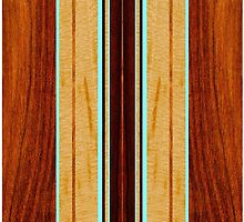 Nalu Hou Faux Koa Wood Hawaiian Surfboard - Aqua by DriveIndustries