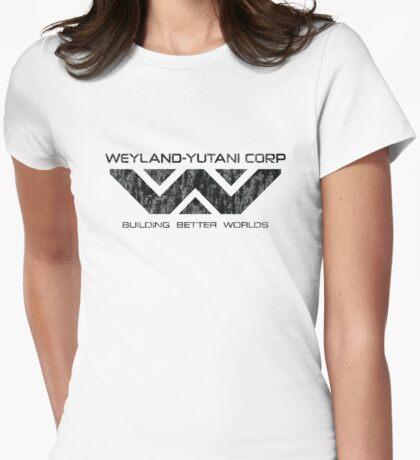 Weyland Yutani - Distressed Black Logo Womens Fitted T-Shirt