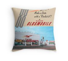 Plachter Oldmobile Car Dealership Ad 1959 Reproduction Throw Pillow