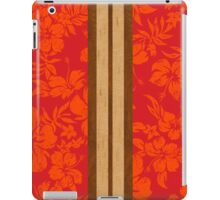 Sunset Beach Hawaiian Faux Koa Wood Surfboard - Red iPad Case/Skin