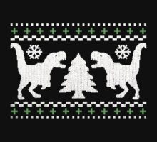 Ugly T-Rex Christmas Holiday Sweater Design One Piece - Long Sleeve