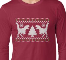 Ugly T-Rex Christmas Holiday Sweater Design Long Sleeve T-Shirt