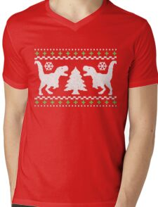 Ugly T-Rex Christmas Holiday Sweater Design Mens V-Neck T-Shirt