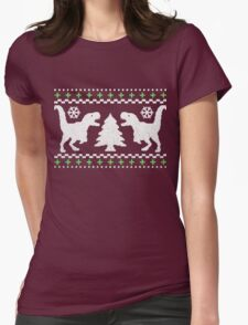 Ugly T-Rex Christmas Holiday Sweater Design Womens Fitted T-Shirt