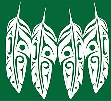 Four White Feathers on Green by Lou-ann Neel