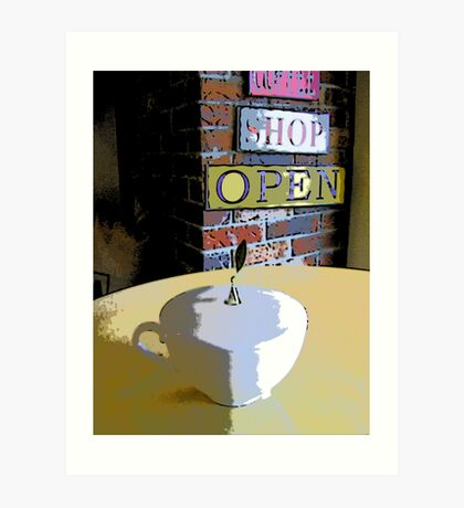Comic Abstract Coffee Shop Tea Cup Art Print
