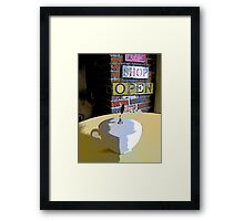 Comic Abstract Coffee Shop Tea Cup Framed Print