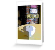 Comic Abstract Coffee Shop Tea Cup Greeting Card
