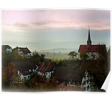 Misty Morning in Oberstammheim Poster