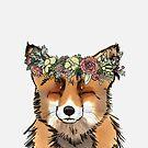 Flower crown Fox by Elise  Coates