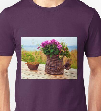 Beautiful still life basket of flowers digital art Unisex T-Shirt