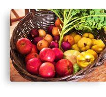 Organic healthy vegetables and fruits digital art Canvas Print