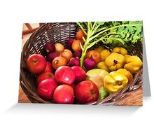 Organic healthy vegetables and fruits digital art Greeting Card