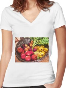 Organic healthy vegetables and fruits digital art Women's Fitted V-Neck T-Shirt