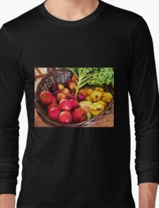 Organic healthy vegetables and fruits digital art Long Sleeve T-Shirt