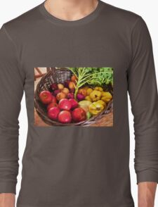 Organic healthy vegetables and fruits digital art Long Sleeve T-Shirt