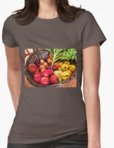 Organic healthy vegetables and fruits digital art Womens Fitted T-Shirt