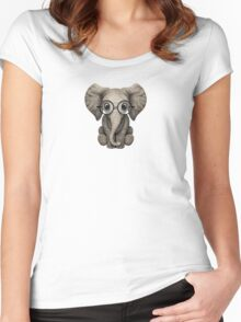 Cute Baby Elephant Calf with Reading Glasses on Blue Women's Fitted Scoop T-Shirt