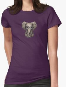 Cute Baby Elephant Calf with Reading Glasses on Blue Womens Fitted T-Shirt