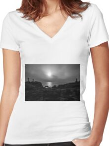 Black and white lighthouse Women's Fitted V-Neck T-Shirt