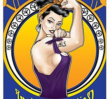 Disobey - Art Nouveau style Rosie the Riveter retro style pin up graphic by Neal Wollenberg