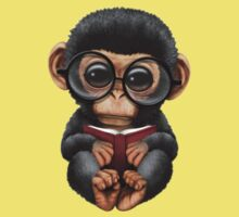 Cute Baby Chimpanzee Reading a Book on Yellow Kids Clothes