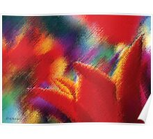 Orange Tulips Abstract Painting Poster