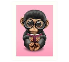 Cute Baby Chimpanzee Reading a Book on Pink Art Print