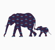 Purple Printed Elephants, Parent and Baby by Emma  Mazzuca