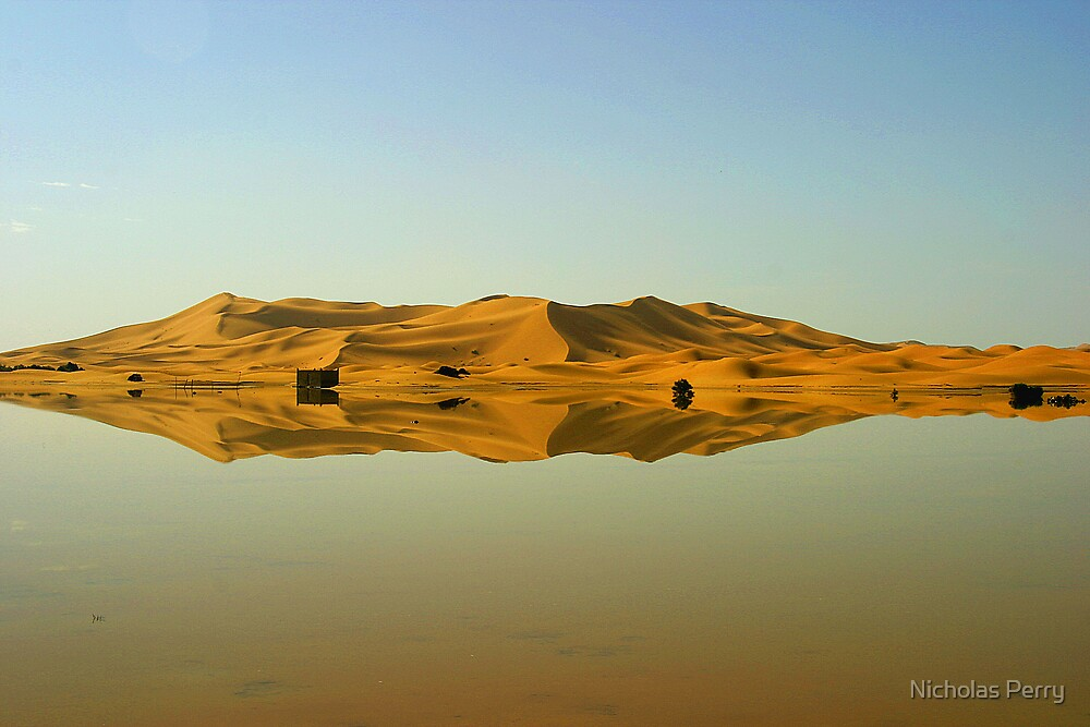 Dunes reflected in an oasis by Nicholas Perry