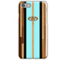 Rocky Point Hawaiian Engineered Faux Wood Surfboard - Aqua iPhone Case/Skin
