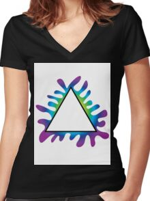 Triangle Splat Women's Fitted V-Neck T-Shirt