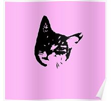 Pink Kitty Head Poster