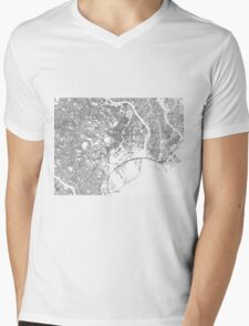 Streets - Tokyo (Black on White) Mens V-Neck T-Shirt