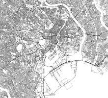 Streets - Tokyo (Black on White) by Nick Caron