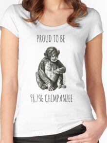 PROUD TO BE 98.7% CHIMPANZEE Women's Fitted Scoop T-Shirt