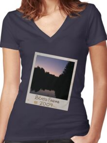 Photograph Lake Dark (Slant) Women's Fitted V-Neck T-Shirt