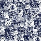 CHRISTMAS CATS blue by Sharon Turner