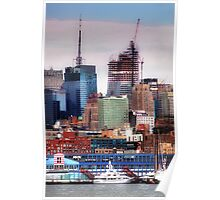 New York Cityscape with boats Poster
